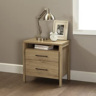 South Shore Gravity 2-Drawer Nightstand, Rustic Oak with Satin Nickel Finish Handles