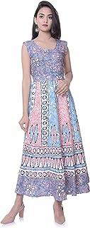 6TH AVENUE STREETWEAR Women's Cotton Long Dress - Free Size, Blue
