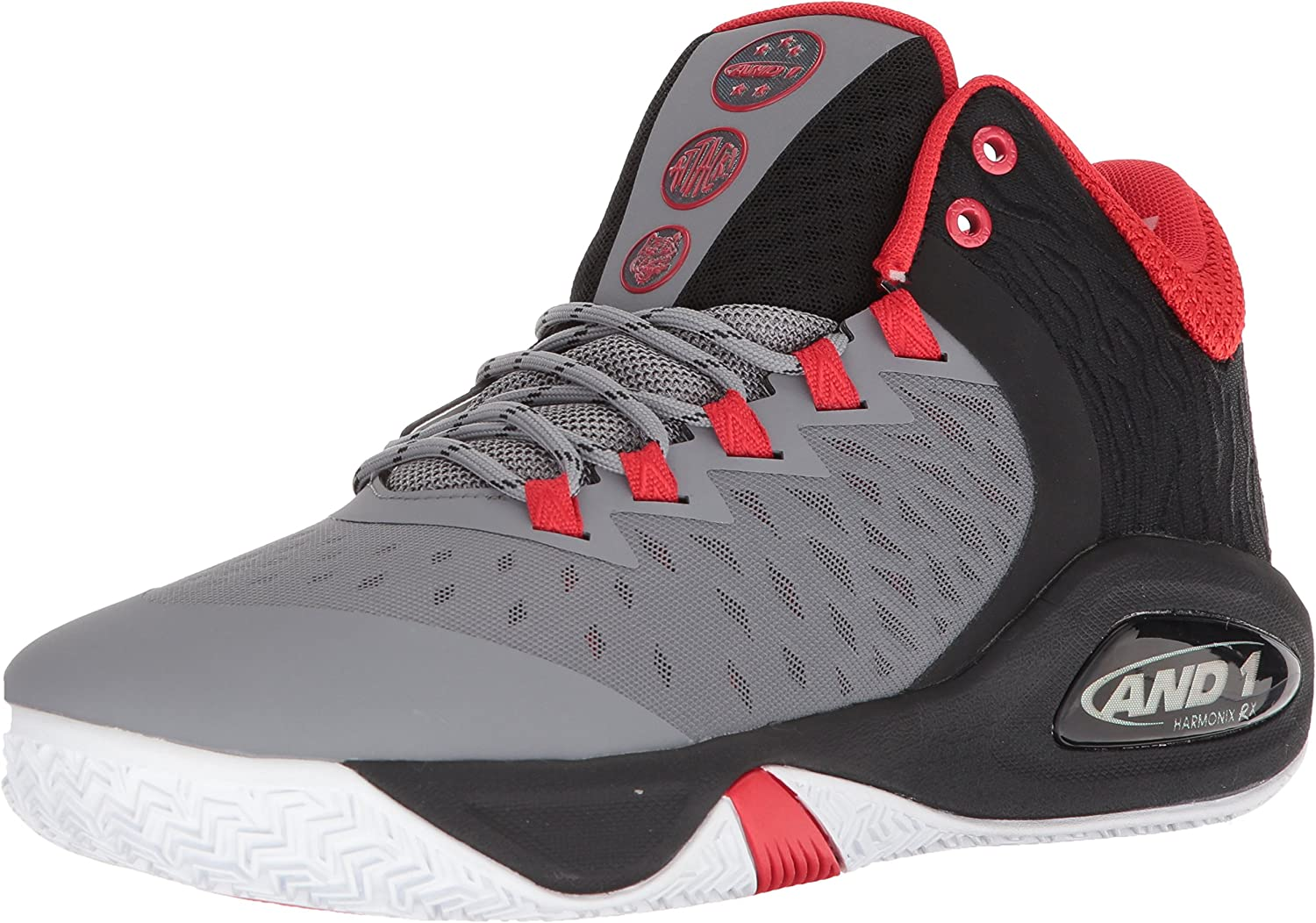 AND1 Men's Attack Mid Basketball shoes, December Sky Black Fiery Red, 8 D(M) US