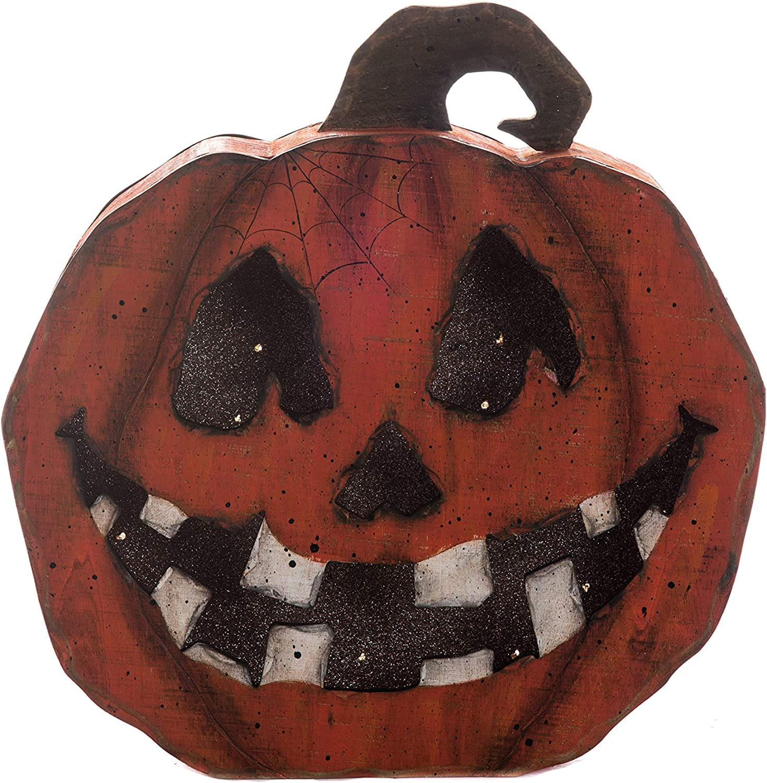 Transpac Imports Wood Light Up Jack-O-Lantern Face Pumpkin Decor, Orange