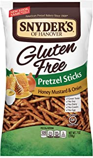 Snyder's of Hanover Gluten Free Honey Mustard and Onion Pretzel Sticks, 7 Ounce (Pack of 12)