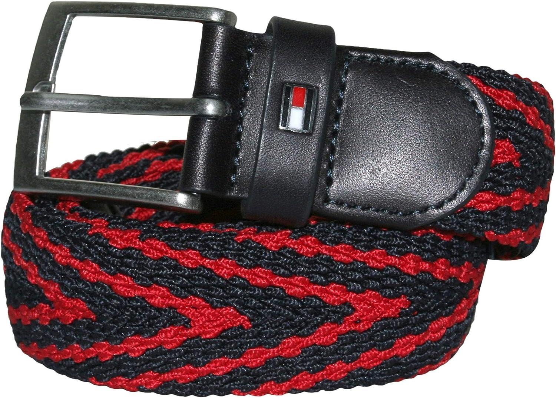 Tommy Hilfiger Adan Stripe Webbing Belt, Navy/Red