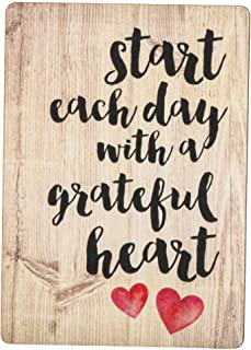 Start Each Day Script Red Heart Distressed Wood Look 2.5 x 3.5 Inch Wood Lithograph Magnet