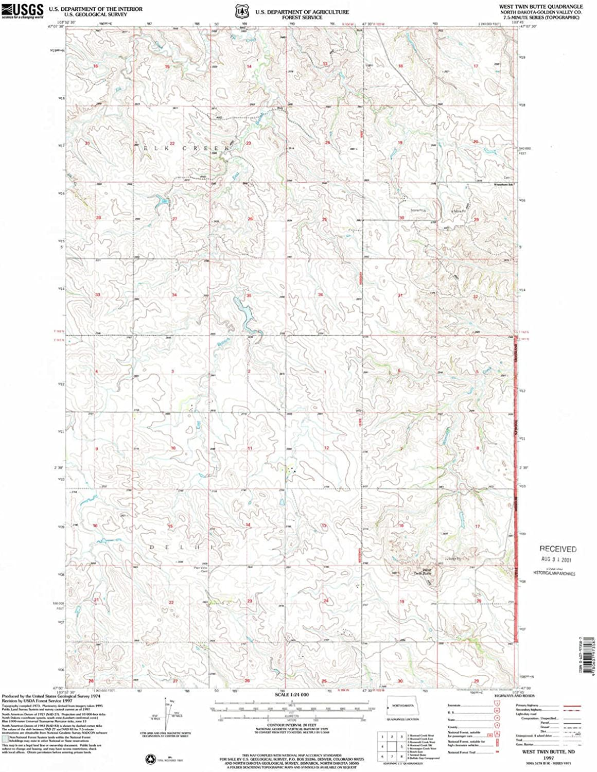 West Twin Butte ND topo map, 1 24000 Scale, 7.5 X 7.5 Minute, Historical, 1997, Updated 2001, 27 x 22.1 in