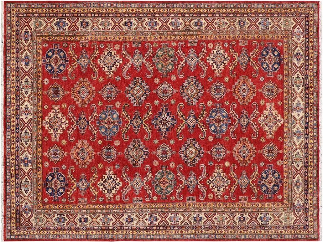 Southwestern Super Kazak Kassandr Red Beige Wool 1 x Rug Sales of SALE items 1 year warranty from new works - 8'2''