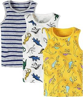 ANIMQUE Camiseta interior de algodón para niños y niñas, paquete de 3 unidades, diseño de caricatura