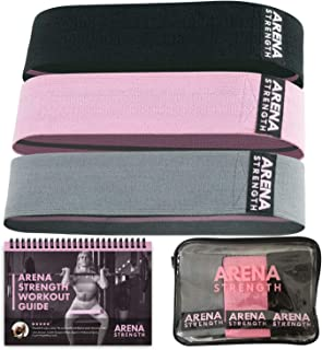 Arena Strength Booty Fabric Bands: Fabric Resistance Bands for Legs and Butt: 3 Pack Set. Perfect Workout Hip Band Resistance. Workout Program and Carry Case Included
