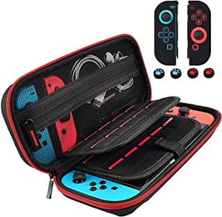 Compatible with Switch Carrying Case for Nintendo Switch, Travel Switch Case Protective Portable Holds 20 Games Cartridges, Joy-Con Controller Protective Case w/4 Thumb Grips Caps for Nintendo Switch
