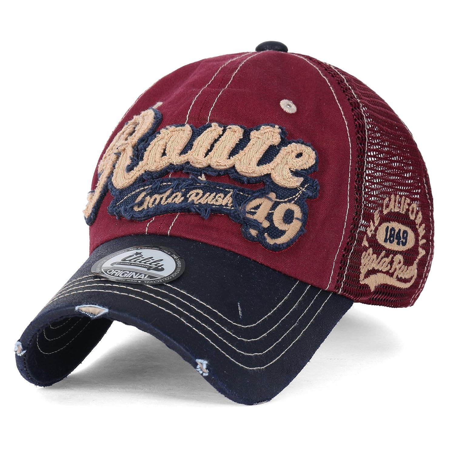 文法迫害行商人(イリリリー) ililily Route Gold Rush 49 カジュアル コットンメッシュ トラッカーハット ベイスボールキャップ メッシュ帽