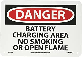 NMC D133A DANGER - BATTERY CHARGING AREA NO SMOKING OR OPEN FLAMES Sign - 10 in. x 7 in., Red/Black Text on White, Aluminum Danger Sign