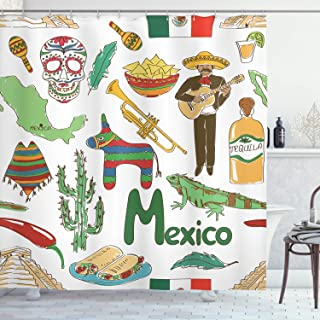 Ambesonne Mexican Decorations Collection, Fun Colorful Sketch Mexico Chili Pyramid Nachos Cactus Music Poncho Image, Polyester Fabric Bathroom Shower Curtain Set with Hooks, Green Olive Mustard