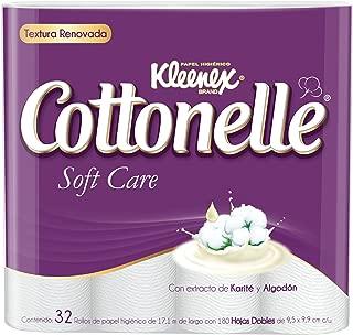 Kleenex Cottonelle Soft Care Papel Higiénico, color Blanco, Paquete de 32 Piezas