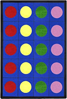 Joy Carpets Kid Essentials Early Childhood Lots of Dots Rug, Multicolored, 5'4