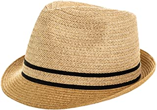 Jeff & Aimy 1920s Straw Panama Fedora Hat Cap for Men Sun Summer UPF 50 Gatsby Derby Hat for Womens