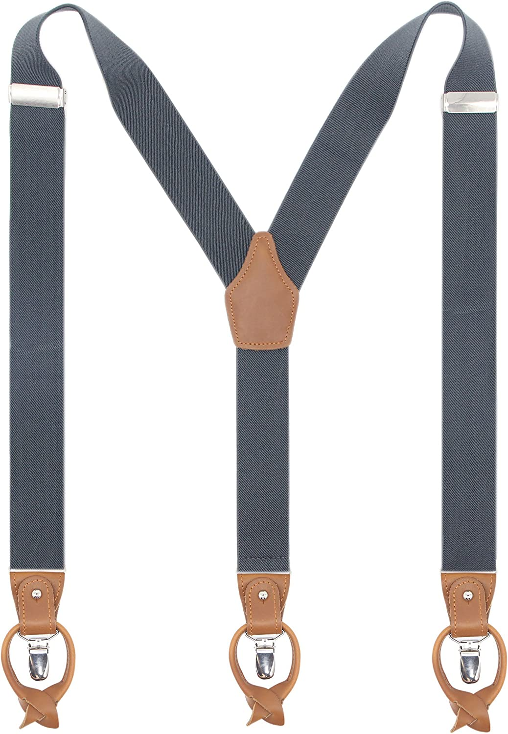 Leather Clip And Button Suspenders For Men, Y-Back Style For Formal Outfits