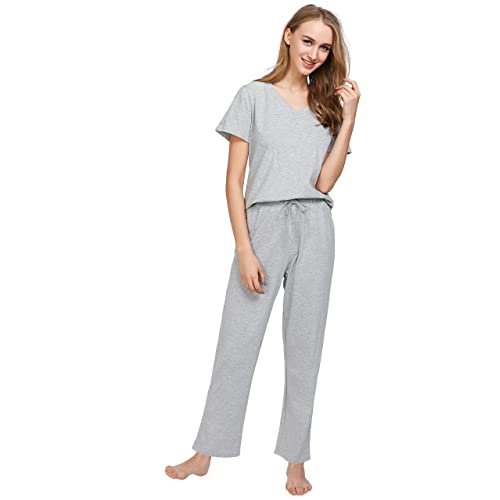 Latuza Women s Cotton Pajamas Set Short Sleeves Top   Sleep Pants e8c1461c5
