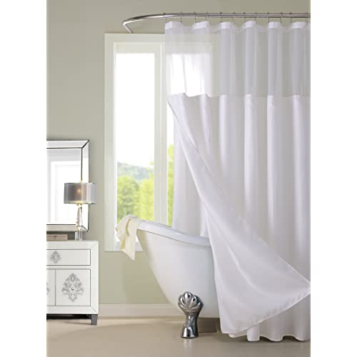 Dainty Home Waffle Complete Shower Curtain White