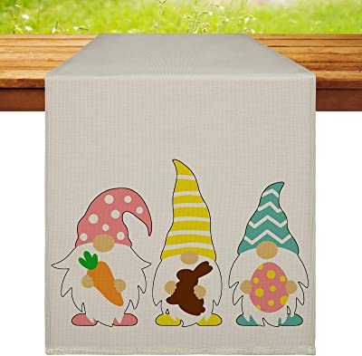 Gnomes Table Runner Easter Gnome Table Runner, 13 x 72 Inch Happy Easter Table Runner Washable Non-Slip Gnomes Table Cloth Linen Burlap Table Runner for Indoor Outdoor Home Party Decor