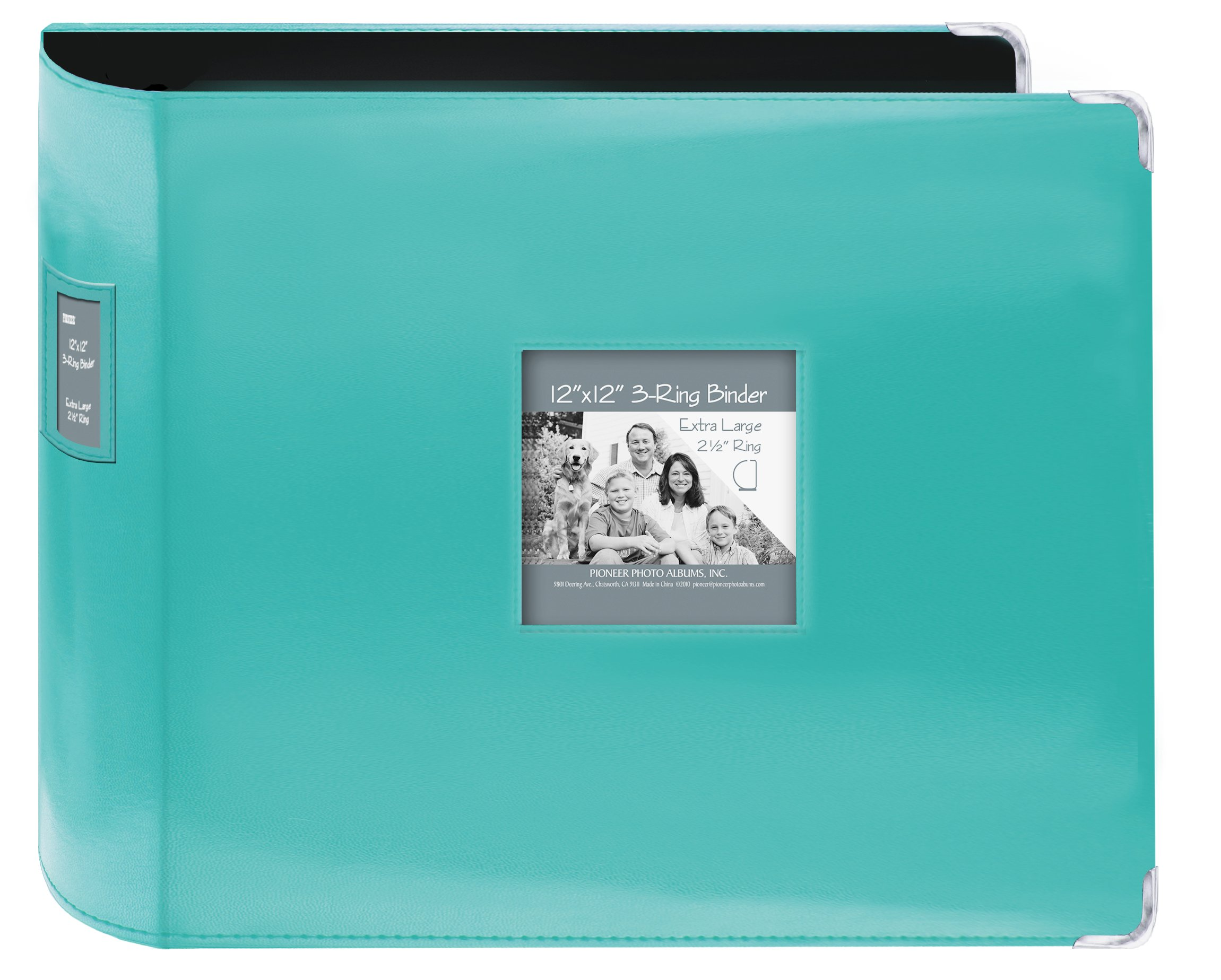 """Pioneer Sewn Leatherette 3-Ring Binder 12""""X12""""-Bright Blue"""