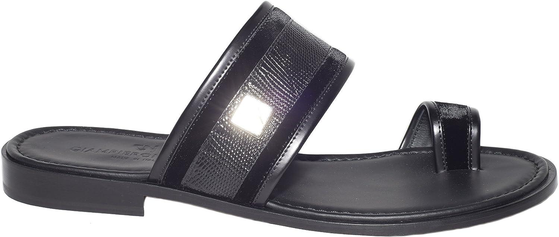 Giampieronicola 5437 Under blast sales Italian latest mens black sandals push-in-toe