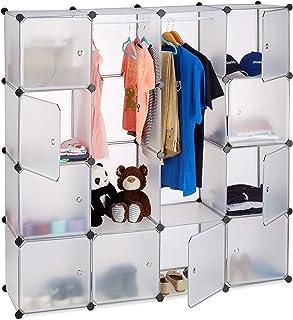 Relaxdays Étagère cube rangement penderie armoire 12 compartiments modulable HxlxP: 145,5 x 145,5 cm, transparent
