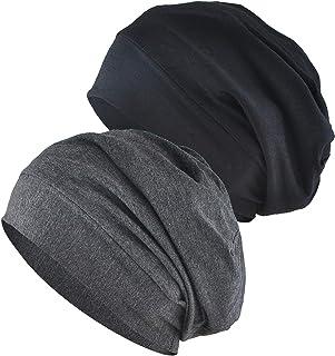 Women's Sleeping Cap, 2-Pack Satin Silk Lined Night Cap Sleep Bonnet Slouchy Beanie Hat for Hair Loss Cancer Chemo