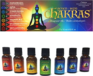 Chakras Relaxation Essential Oils Set of 7 - Concentrated Natural Oils for Diffuser, Massage, Reflection, Meditation, Envi...