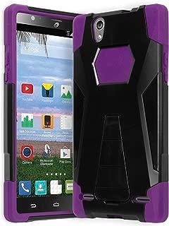 ZTE Lever Z936L Phone Case, Bastex Hybrid Soft Purple Silicone Cover Hard Black Kickstand (T-Stand) Case for ZTE Lever S936L
