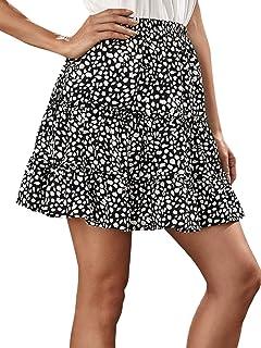 SheIn Women's Boho Dalmatian Print Frilled Summer Flare A-Line Short Dress