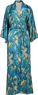 Floral Kimono Robe Satin Silk Wedding Robe 1920s Kimono Nightgown Sleepwear 53 Inches Long