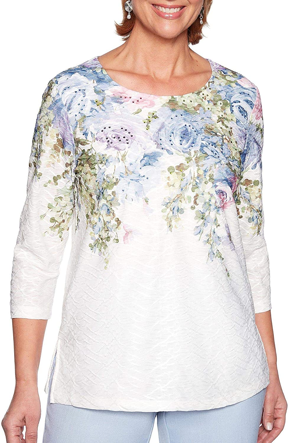 Alfred Dunner Women's South Hampton Botanical Yoke Top