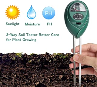 Besmon Soil Test Kit, 3-in-1 Soil Ph Meter,Soil Moisture Meter Indoor/Outdoor Plant Care Soil Tester Light and PH MeterFor Plant, Vegetables, Garden, Lawn, Farm,Soil PH Test Kit No Battery Needed