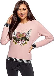oodji Ultra Mujer Suéter de Algodón con Estampado