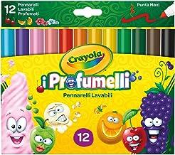 CRAYOLA PROFUMELLI-Pennarelli Lavabili e Profumati per Bambini a Punta Grossa, per Scuola e Tempo Libero, 12 Colori, Assortiti, Pezzi, 58-8337