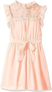 Girls' Big Sweet Blouson Dress with Ruffle Trim Yoke
