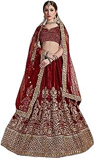 dark red Indian Velvet Bridal Woman Zari & Sequin Wedding Lehenga Choli Dupatta 6587
