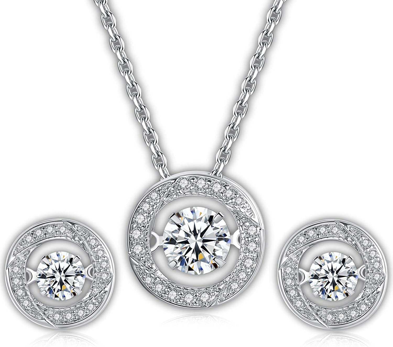 Dancing Stone Jewelry Set – White Gold-Plated Dancing Pendant & Earrings – Fine Jewelry Necklace & Stud Earrings – Sparkling Cubic Zirconia Embedded Stones – Delicate & Elegant Jewelry for Women