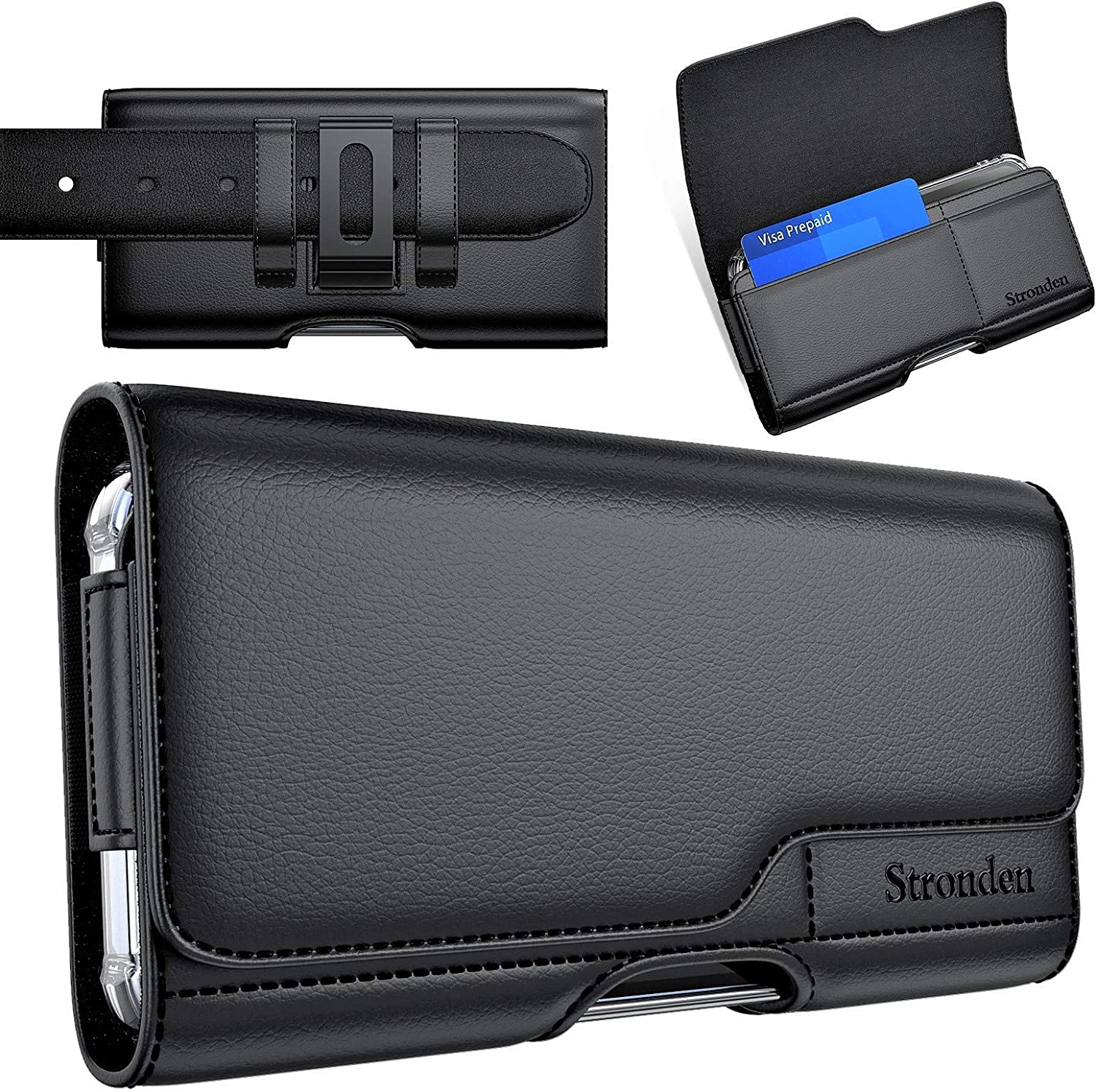 Stronden Holster for iPhone 13 Pro Max, 12 Pro Max, 11 Pro Max, XS Max, 8 Plus - Leather Belt Case with Belt Clip [Magnetic Closure] Pouch w/Built in Card Holder (Fits Slim/Thin Case Only)