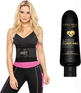 Ann Chery 2051 Latex Fit Waist Trimmer Belt Pink with Guarana Slimming Gel. Waist Trainer Girdle Faja Colombiana.