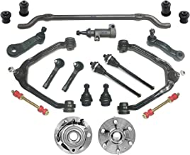 PartsW 20 Pc Steering & Suspension Kit for Cadillac Chevrolet GMC/Escalade, Avalanche Silverado Suburban Tahoe, Sierra Yukon, Control Arms, Center Link Pitman Arm W/4 Grooves, Idler Arm Assembly
