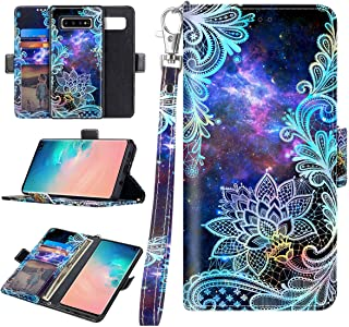 Casetego Compatible S10 Case,Detachable Magnetic Wallet Case PU Leather Full Body Protective Case with Credit Card Holders, Wrist Strap for Samsung Galaxy S10,Blue Mandala