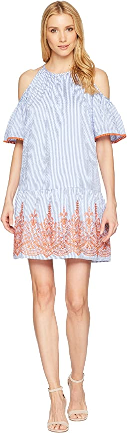 Maggy London Embroidery Stripe Cold Shoulder Shift Dress