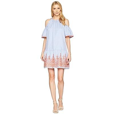 Maggy London Embroidery Stripe Cold Shoulder Shift Dress (Blue/White/Orange) Women