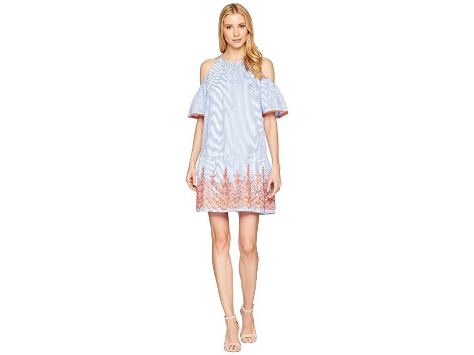 Maggy London Embroidery Stripe Cold Shoulder Shift Dress (Blue/White/Orange) Women
