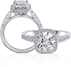 DovEggs Platinum Plated Silver Center 2ct 7X8mm Grey Tinted Cushion Cut Moissanite Halo Engagement Ring with Accents