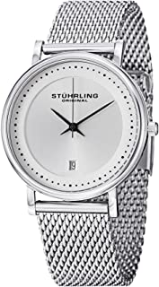 Stuhrling Original Men's Quartz Watch With Silver Dial Analogue Display and Silver Stainless Steel Bracelet 734Gm.01