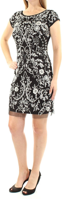 AIDANMATTOX Womens Black Sequined Low Back Paisley Short Sleeve Jewel Neck Above The Knee Sheath Evening Dress US Size  8