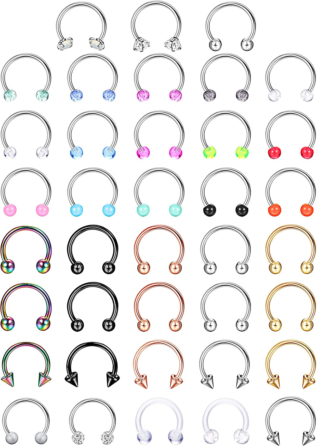 sailimue 38Pcs 16G Surgical Steel Nose Septum Rings Piercing Jewelry Cartilage Helix Tragus Earring Hoop Eyebrow Lip Horseshoe Retainer for Women Men