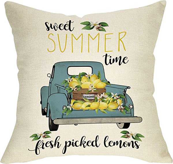 Pycat Summer Farmhouse Throw Pillow Cover 18 X 18 For Couch Summer Sweet Time Decoration Home D Cor Lemon Truck Fresh Pick Decorative Pillowcase Cotton Linen Cushion Case For Sofa