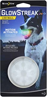 Nite Ize GlowStreak LED Dog Ball, Lights Up for Night Play, Disc-O